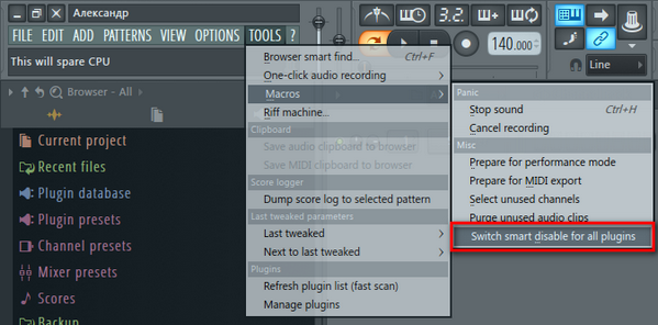 Switch smart disable for all plugins